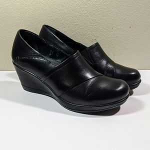 Dansko Rosaline Leather Wedge Clog Size 37 EU 7 US